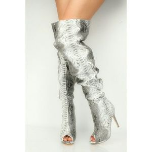 Snakeskin Print Faux Leather Thigh High Boots